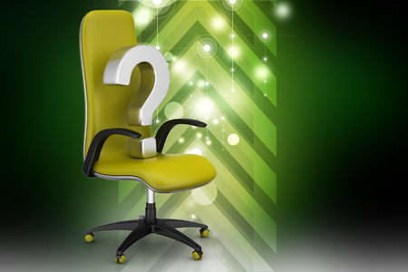 an empty chair with  question mark