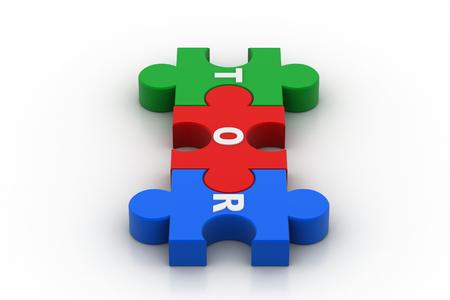 Puzzle piece with tor 版權商用圖片
