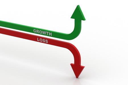 Growth and loss arrow