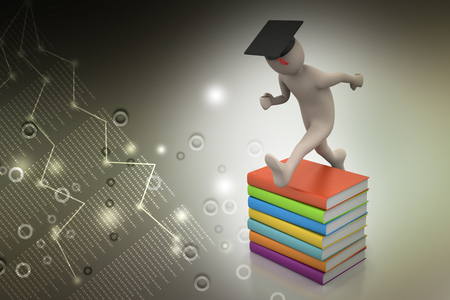 Student with hat Jumping of joy holding diploma. 免版税图像