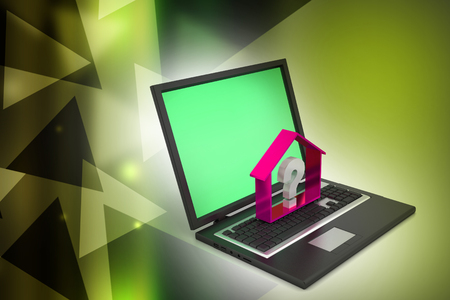 real estate business with question mark in laptop