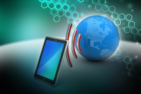 digital tablet with earth, and symbol wifi