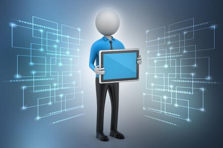 3d man showing the tablet computer Banque d'images