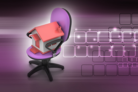 Office chair with home model Banque d'images
