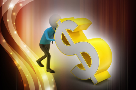 3d man pushing the dollar sign Banque d'images