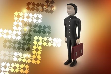 3d business man with briefcase Banque d'images