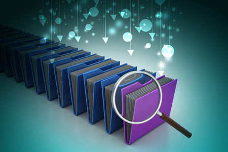 Magnifying glass with file folder Banque d'images