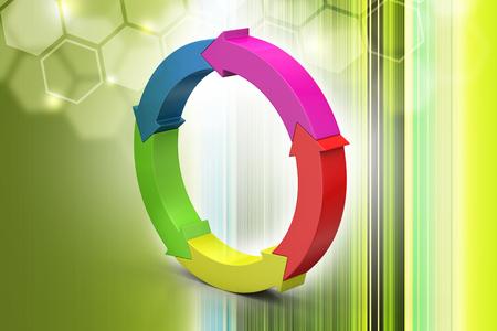 Multi colored arrow circle