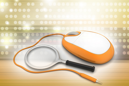 Search Concept. Magnifying Glass with Computer mouse Reklamní fotografie