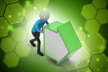 3d man pushing the green arrow
