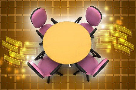 Conference round table and office chairs in meeting room