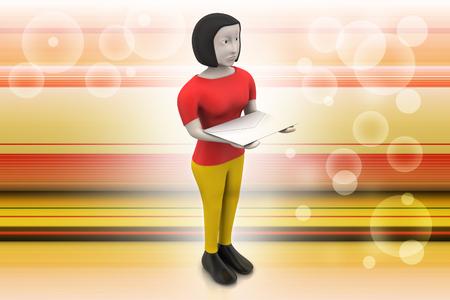 3d woman with e mail Banque d'images