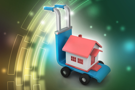 person carrying house in trolley