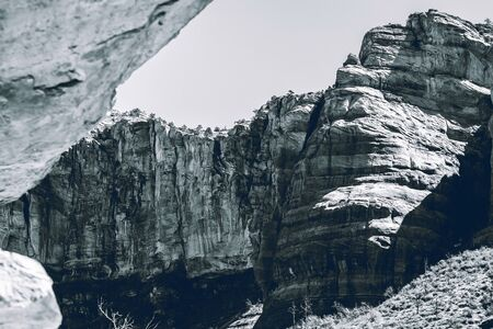 grayscale photo of rocky mountain during time nature awesome nice new beautifully photo