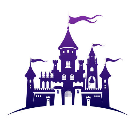 Castle silhouette standing on the hill. Abstract fairy tale fortress. Cartoon vector illustration. Child accessories, travel, tourism, fantasy design element or apparel, fabric print.
