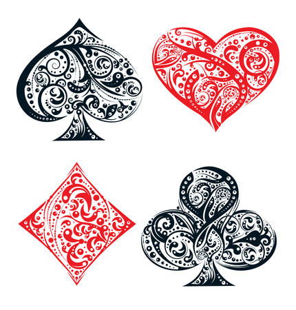 Set of four vector playing card suit symbols made by floral elements. Vintage stylized illustration in black and red on white background. Works well as print, computer icon, emblem, gambling design element Vektorové ilustrace