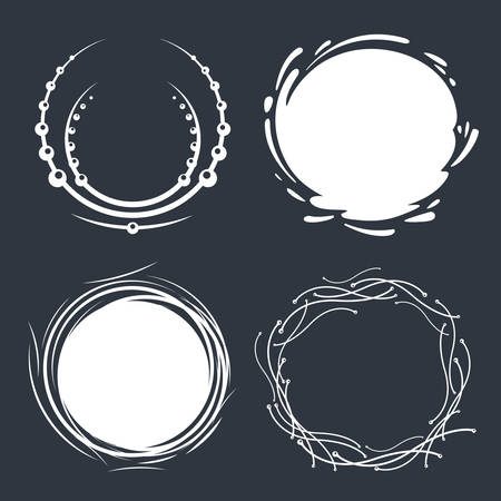 Set of hand drawn circle scribbles with floral elements, water splash and dots. Vector design elements.