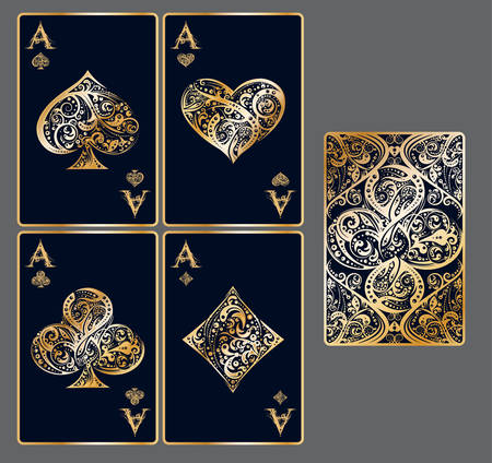 Four aces. Set of vector playing card suits and back design made by floral elements. Vintage stylized illustration in golden colors on black background. Works well as print, icon, emblem, symbol