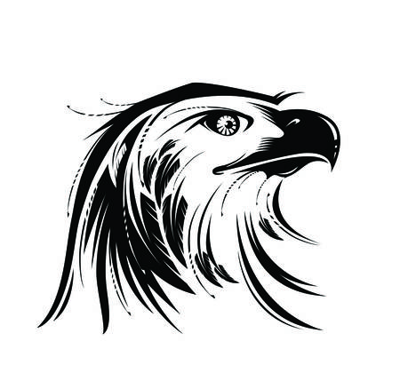 Stylized image of Eagle or Phoenix head in black and white. Vector illustration. Works well as a tattoo, icon, emblem , print or mascot
