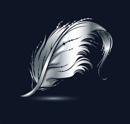 Silver bird feather icon. Decorative design element isolated on black background. Vector illustration.