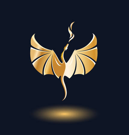 Stylized rising flying Dragon breathing fire. Image in gradient golden and black colors.  Vector illustration. Works well as label, icon, emblem, design element, print, mascot.