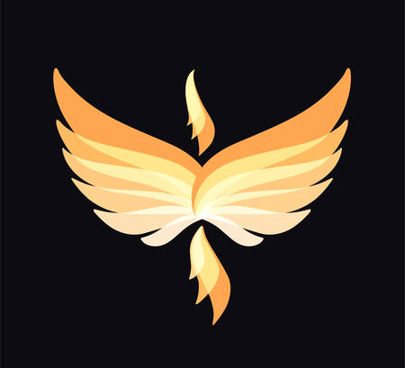 Flying Phoenix icon. Flame and fire. Eagle, falcon vector image. Bird emblem, print or mascot Ilustração