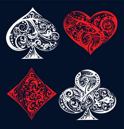 Set of four vector playing card suit symbols made by floral elements. Vintage stylized illustration in white and red colors on black background. Works well as print, computer icon, emblem, gambling design element