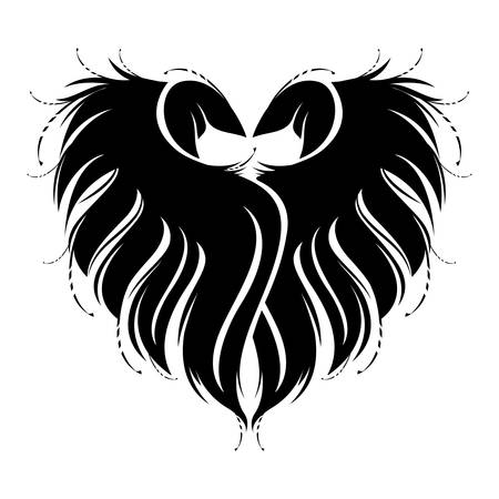 Heart shape silhouette made by black bird wings. Valentine's Day card or symbol concept. Vector ornate greeting card or print illustration