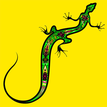 Stylized image of Lizard with decorative floral pattern. Ornate animal illustration on yellow background. Bright neon colors. Works well as mascot, emblem, print or tattoo. Ilustracja