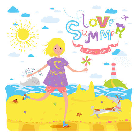 Cute seasonal banner with happy rollerskating teenage girl and dog. Summer beach, coast of the sea, sand, whale. Vector illustration for sticker, label, greeting card or other childish accessories