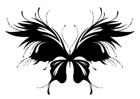 Stylized image of black Butterfly with floral pattern in vector. Works well as mascot, print or tattoo. Ornate isolated insect illustration on white background. Black and white monochrome colors.