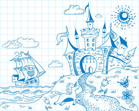 Cute and lovely hand drawn doodle ink landscape with castle, ship, sea, unicorn and flowers on the background of the school notebook sheet in vector.