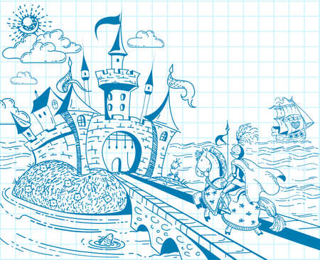 Cute and lovely hand drawn doodle ink landscape with castle, knight, ship, sea and flowers on the background of the notebook sheet in vector. Vettoriali