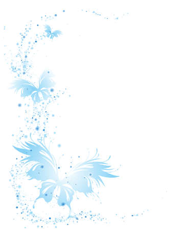Abstract white background with blue flying butterflies. Vector frame for graphic design, label, badge. Empty space for text.
