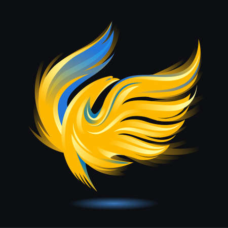 Stylized rising flying bird icon. Flame and fire. Phoenix or Eagle image. Vector illustration. Works well as a tattoo, emblem, print or mascot. Golden, blue, yellow and black colors
