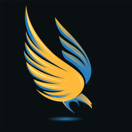 Stylized flying down bird silhouette in golden, blue, yellow and black colors. Attacking hunting Eagle image. Shining Phoenix. Vector illustration. Works well as a tattoo, emblem, print or mascot. Vector Illustratie