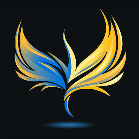 Stylized rising flying bird icon. Flame and fire. Phoenix image. Vector illustration. Works well as a tattoo, emblem, print or mascot. Golden, blue, yellow and black colors