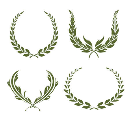 Set of four laurel wreaths. Collection of award or victory signs. Heraldry emblem. Olive green color. Vector illustration. Vectores