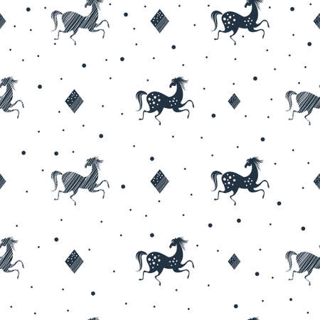 Stylish seamless pattern with running horses and dots in black and white colors. Vector trendy fashion illustration. Template for wrapping paper, textile, print, background. Animal vintage design