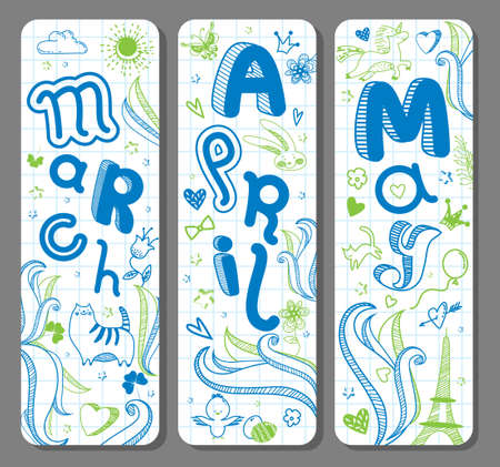 Three Spring lovely seasonal doodle banners with cute hand drawn text in vector for stickers, bookmarks, prints and different childish accessories. March, April, May. Calendar greetings. Vertical Ilustração