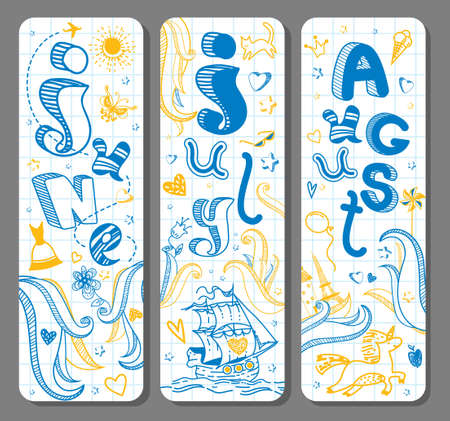 Three Summer lovely seasonal doodle banners with cute hand drawn text in vector for stickers, bookmarks, prints and different childish accessories. June, July, August. Calendar greetings. Vertical Ilustração
