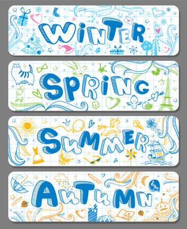 Four lovely horizontal seasonal doodle banners with cute hand drawn text in vector for stickers, prints, bookmarks and different childish accessories. Winter, Spring, Summer, Autumn. Calendar greeting