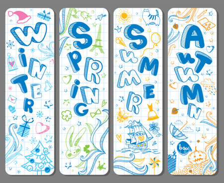Four lovely vertical seasonal doodle banners with cute hand drawn text in vector for stickers, prints, bookmarks and different childish accessories. Winter, Spring, Summer, Autumn. Calendar greeting