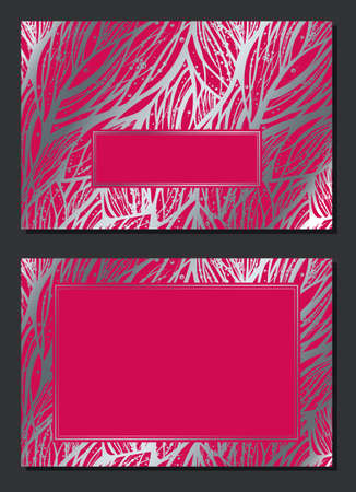 Luxury invitation card with empty space for your text. Wedding or Christmas holiday decoration. Silver and red abstract floral pattern with frame. Vector template design. Horizontal composition. Face and back 矢量图像