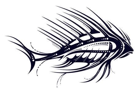 Image of fantastic black fish silhouette. Vector illustration.