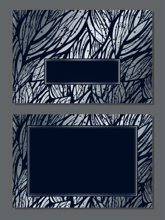Luxury invitation card with empty space for your text. Wedding or Christmas holiday decoration. Silver and black abstract floral pattern with frame. Vector template design. Horizontal composition. 矢量图像