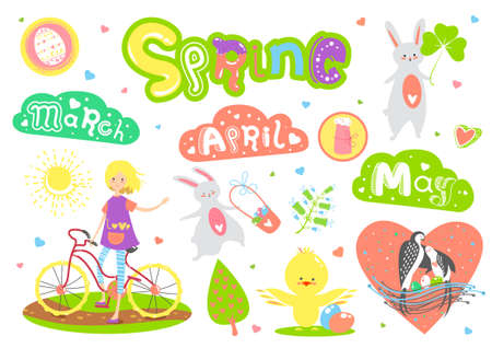 Cute Spring cartoon characters and elements set. Works well as lovely vector sticker, greeting card, poster, label, banner, design for kid accessories. Easter bunny, girl, chicken, egg, bird.