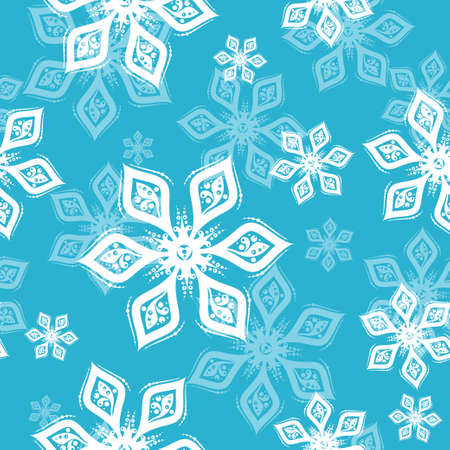 White and gray Snowflake seamless pattern on silver background. Vector holiday illustration for greeting card, decoration, sign, banner, Christmas accessories, wrapping paper, textile. Vintage style 矢量图像