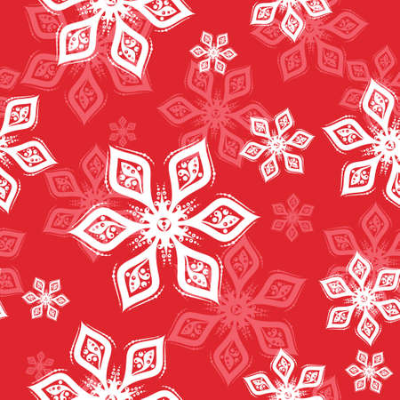 White and pink Snowflake seamless pattern on red background. Vector holiday illustration for greeting card, decoration, sign, banner, Christmas accessories, wrapping paper, textile. Vintage style