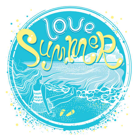 Love Summer. Young girl on the coast of sea. Quote print with hand drawn lettering. Romantic cute poster. Inspirational travel or tourism background. Vector seasonal illustration. Circle composition.